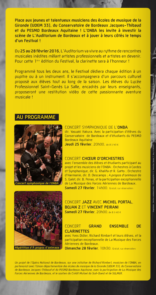 Programme du Festival choeur orchestres 2016